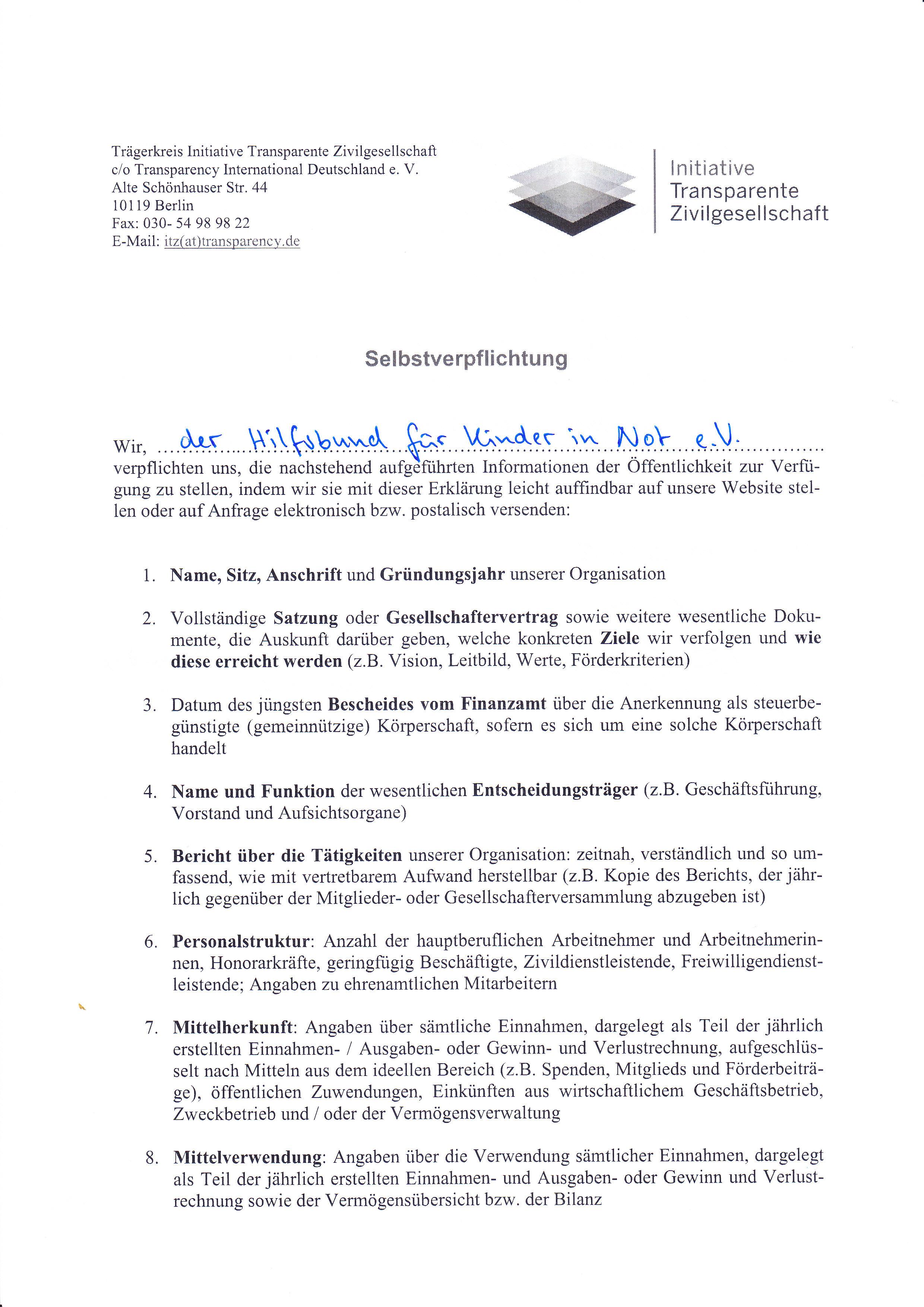 Initiative Transparente Zivilgesellschaft - Hilfsbund für Kinder in ...